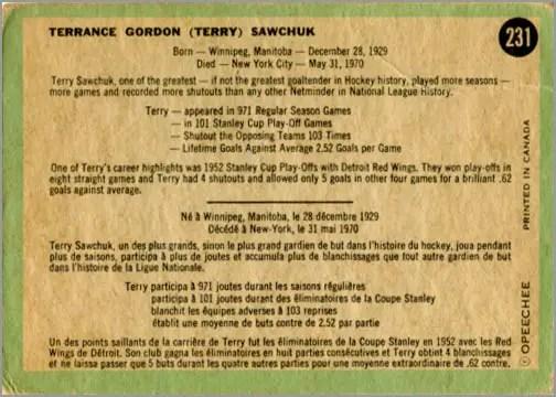 1970-71 O-Pee-Chee card #231 - Terry Sawchuk