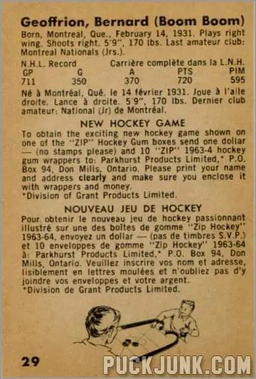 1963-64 Parkhurst #29 - Bernard (Boom Boom) Geoffrion (back)