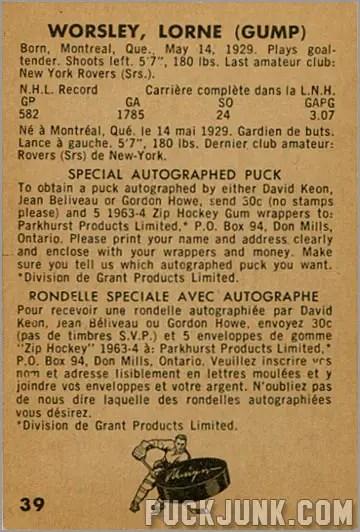 1963-64 Parkhurst #39 - Lorne (Gump) Worsley (back)