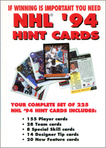NHL '94 Offer Card