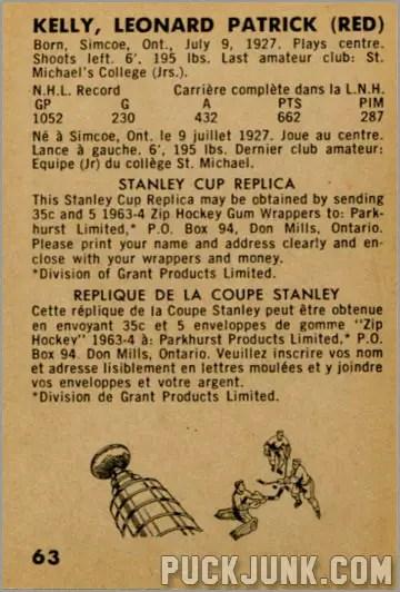 1963-64 Parkhurst #63 - Red Kelly (back)
