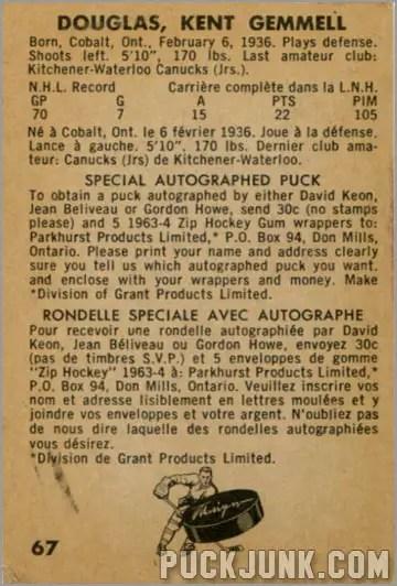 1963-64 Parkhurst #67 - Kent Douglas (back)