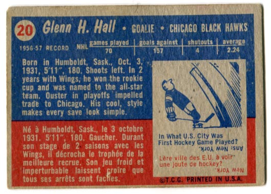 1957-58 Topps #20 - Glenn Hall (back)