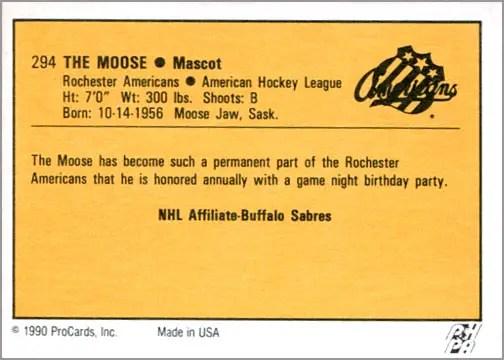 1990-91 ProCards AHL/IHL #294 – The Moose (back)