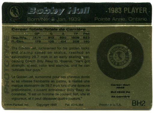 Action Packed Hockey Hall of Fame #BH2 - Bobby Hull Gold (back)