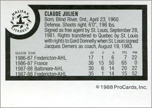 1988-89 ProCards AHL/IHL - Claude Julien (back)