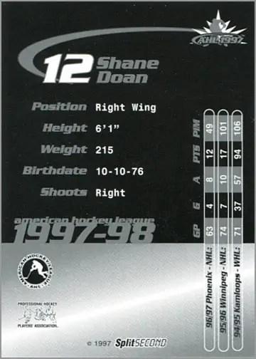 1997-987 Springfield Falcons - Shane Doan (back)