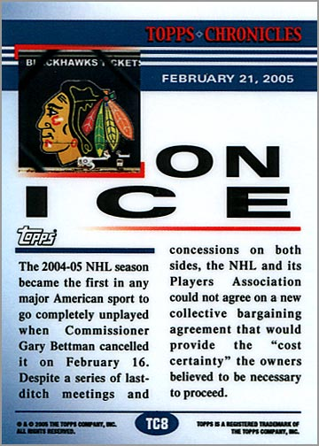 2005 Topps Chronicles #TC8 - On Ice (back)