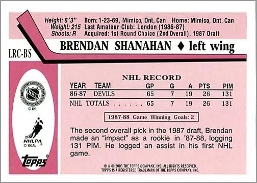 2003-04 Topps Lost Rookies #LRC-BS - Brendan Shanahan (back)
