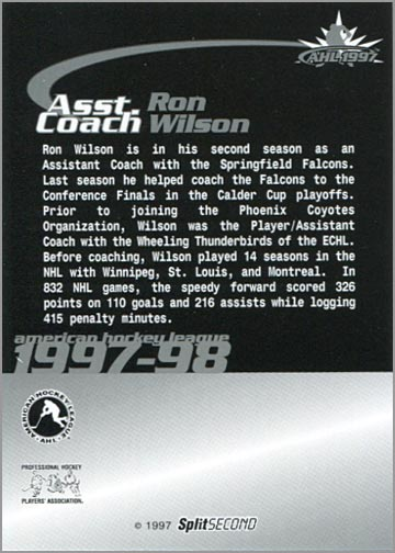 1997-987 Springfield Falcons - Ron Wilson (back)