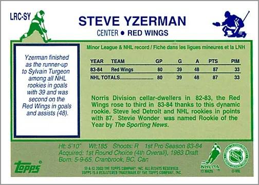 2003-04 Topps Lost Rookies #LRC-SY - Steve Yzerman (back)