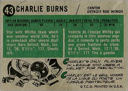 1958-59 Topps #43 - Charlie Burns (back)