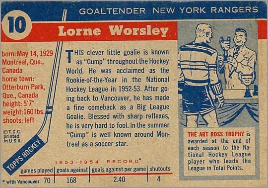 1954-55 Topps #10 - Lorne Worsley (back)