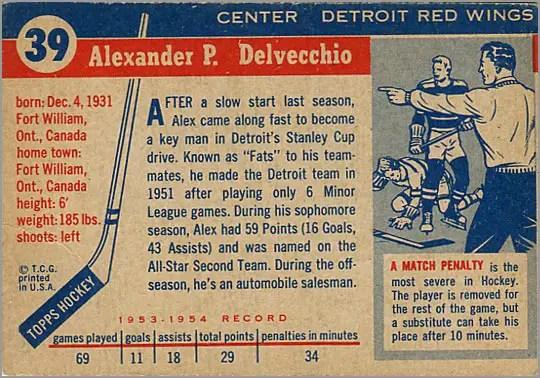 1954-55 Topps #39 - Alex Delvecchio (back)