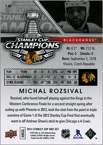 2013 Chicago Blackhawks Commemorative Box Set #18 - Michal Rozsival (back)