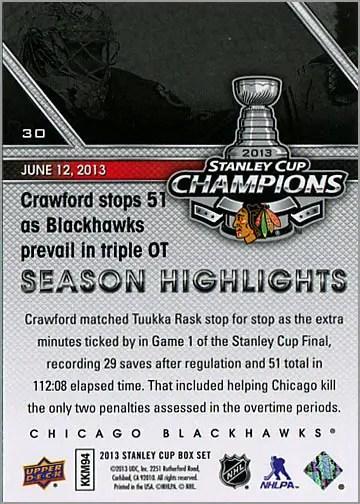2013 Chicago Blackhawks Commemorative Box Set #30 - Season Highlights (back)