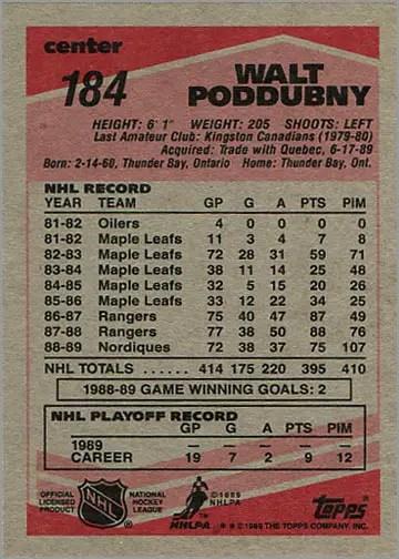 1989-90 Topps #184 - Walt Poddubny (back)