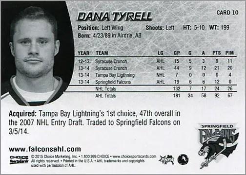 2014-15 Springfield Falcons #10 - Dana Tyrell (back)