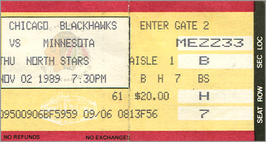 Blackhawks Ticket Stub November 2, 1989