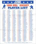1990-91 Score NHL Hockey Player List
