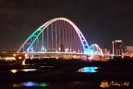 【新北旅遊】連接板橋與新莊的七彩景觀橋《新月橋》天空步道/廟街夜市