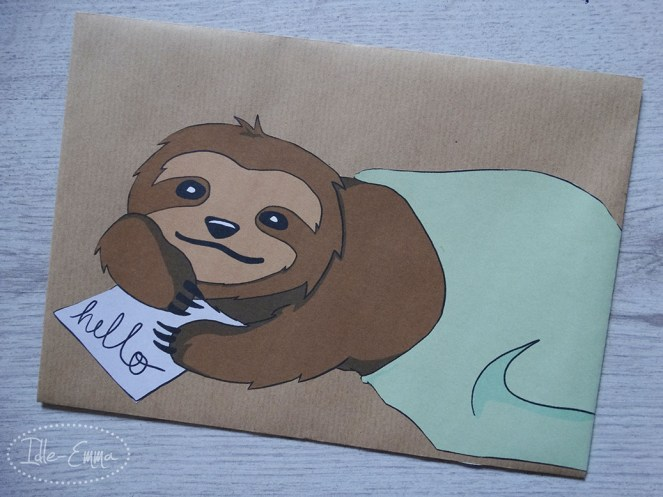 sloth stickers and envelope