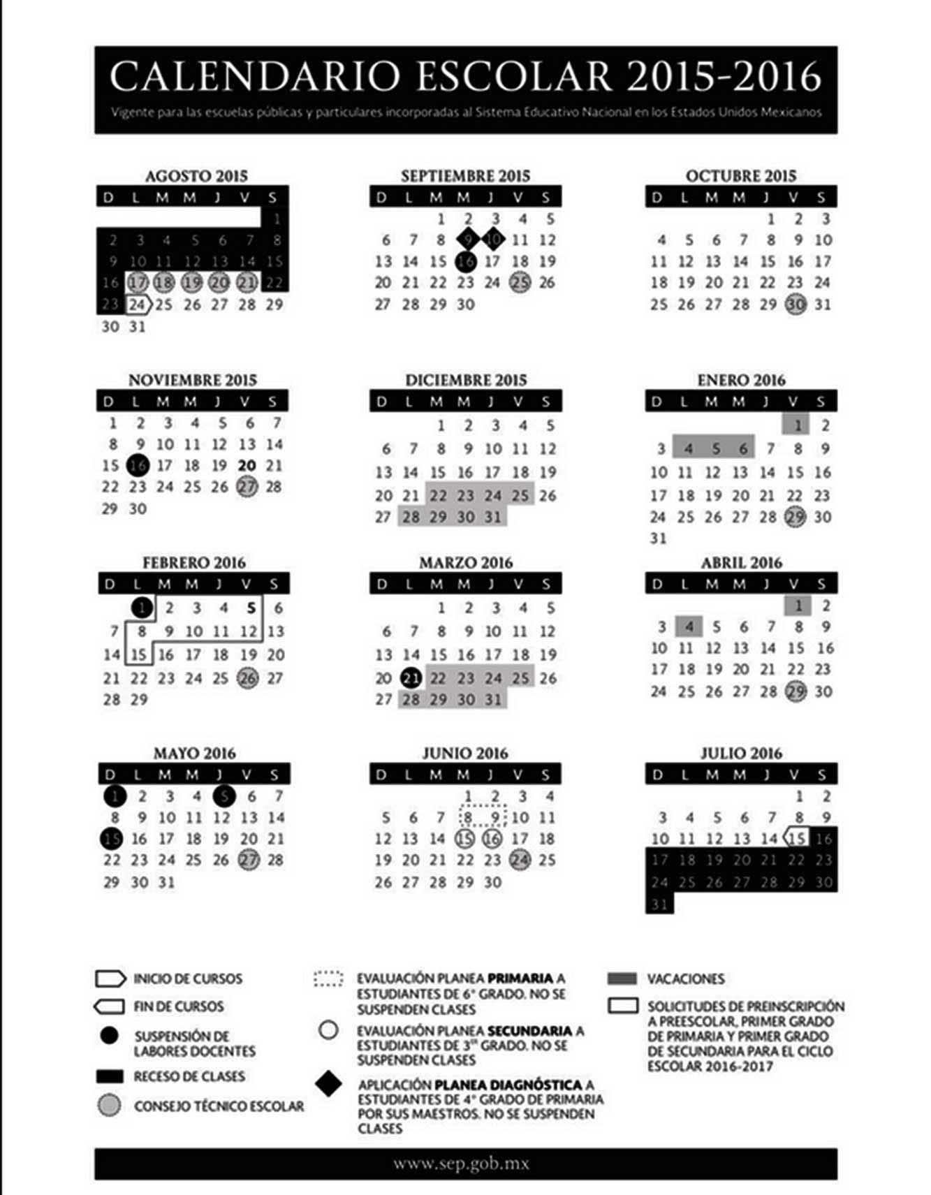 Este es el calendario escolar 2015-2016