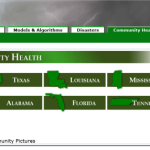 Gulf Coast Health Port, designed the state buttons.  Built in Plone, I picked color scheme, designed the header as well