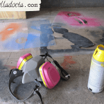 Colored, discarded stencils