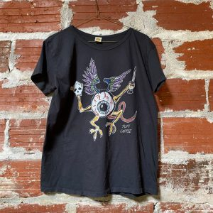 black t-shirt with flying dragon eyeball graphic