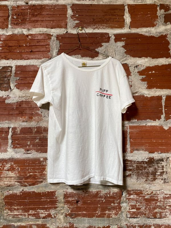 white t-shirt with Puff Coffee Logo