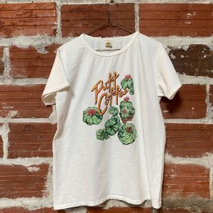 white t-shirt with printed peyote on back
