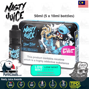 Nasty Juice Slow Blow E-Liquid (Low Mint) - Pineapple Lemonade with a hint of mint eJuice available at Puffin Clouds UK - //puffinclouds.co.uk