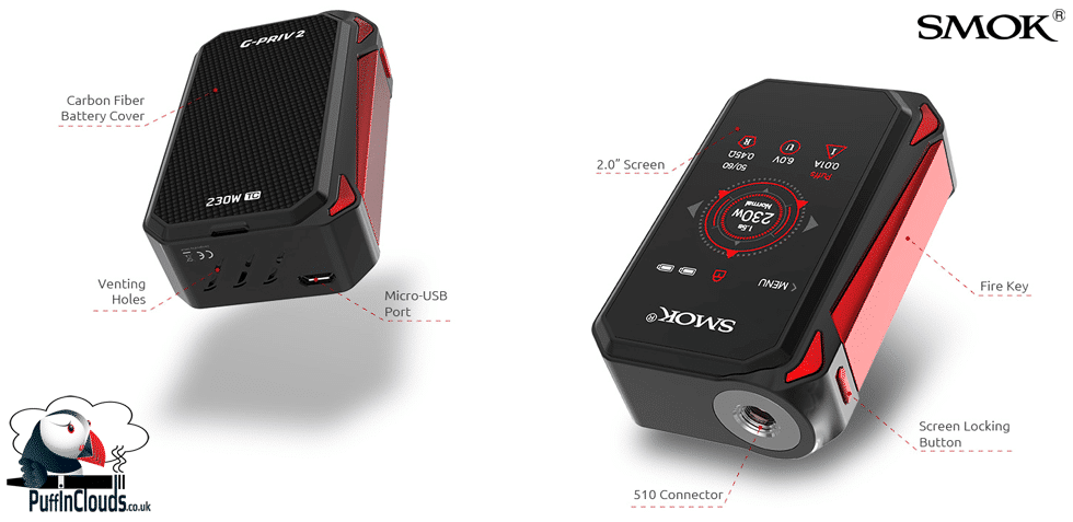 SMOK G-Priv 2 Kit - Specifications & Features   Puffin Clouds UK