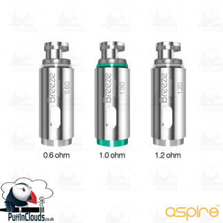 Aspire Breeze Coils (5 Pack) in a choice of 0.6, 1.0 & 1.2 ohm| Puffin Clouds UK