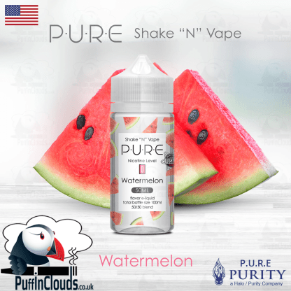 P.U.R.E Watermelon Shake n Vape E-Liquid (50ml 0mg) | Puffin Clouds UK