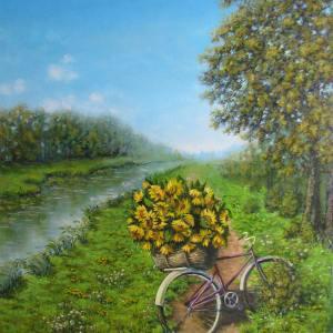 велосипед с подсолнухами