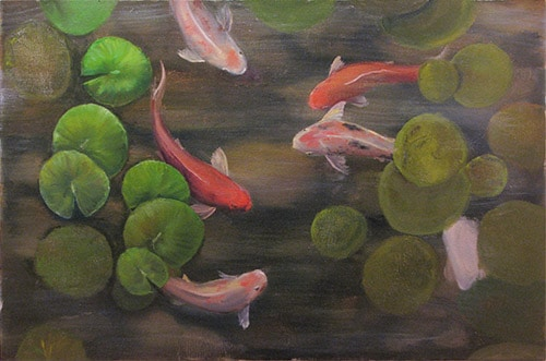 картина рыбки кои c