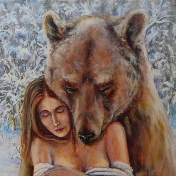 картина нежность девушка с медведем-2