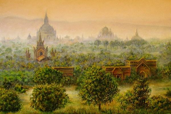 Картина-на-конкурсе-закат-над-древним-городом-Баган