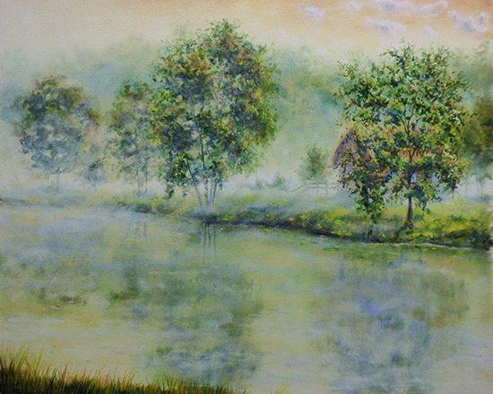 туман масляными красками