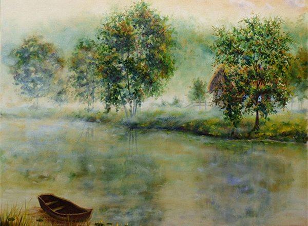Картина туманное утро на выставке