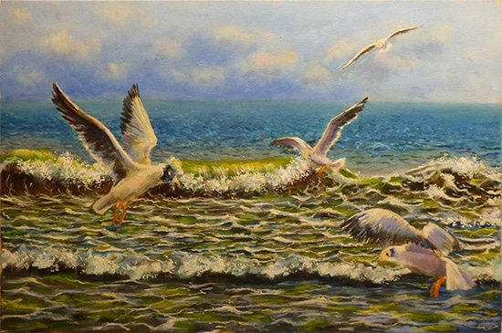 how to painting sea with seagulls