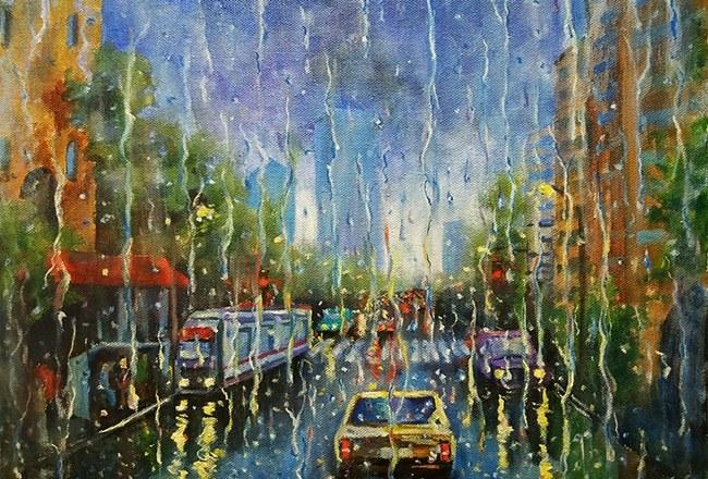 картина городсткой пейзаж с дождем
