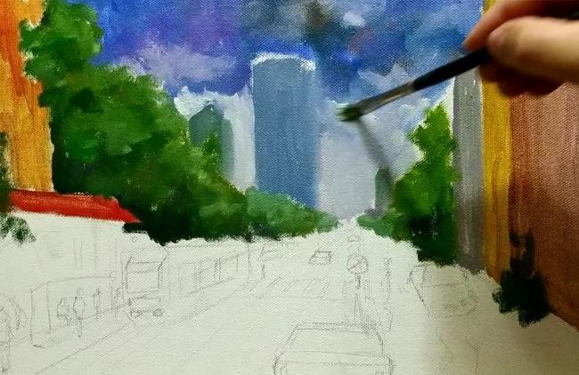 картина с дождем как рисовать