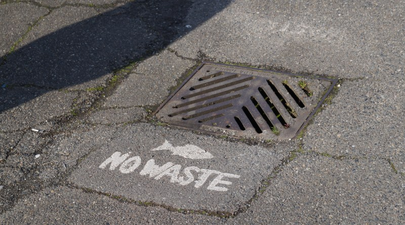 A sign to discourage dumping in storm drains that lead directly to local watersheds.