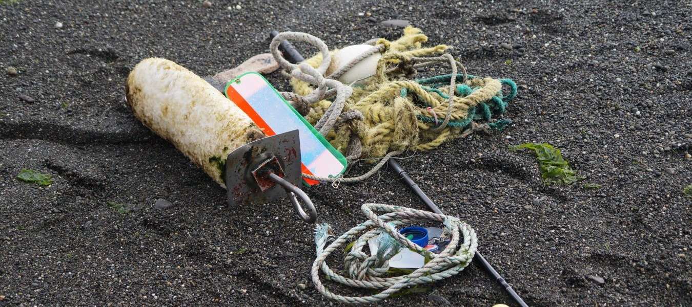 Marine debris collected near the Elwha River.