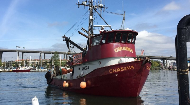 The F/V Chasina gets ready for a sampling run in the Duwamish River.