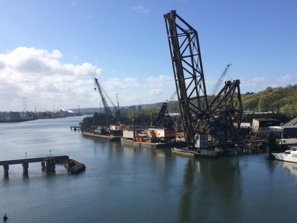 A view down the Duwamish River from the West Seattle Bridge, on a sunny day.