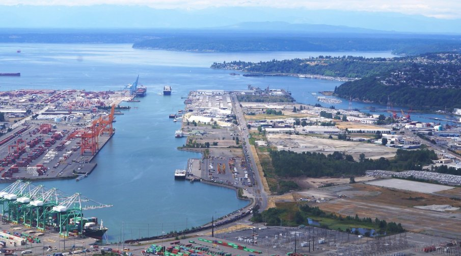 An aerial view of the Port of Tacoma, looking North over Puget Sound.
